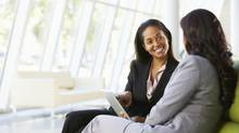 Good conversationalists talk about plain, simple subjects when trying to get to know their co-workers. (Thinkstock)