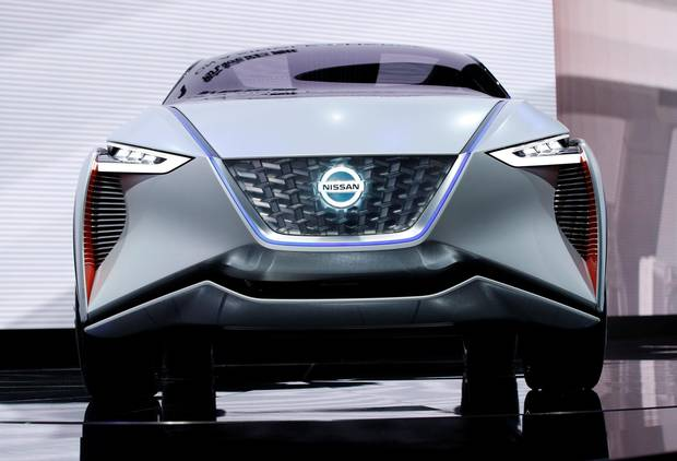 The IMx zero emission concept car would allow the driver to deploy Nissan's ProPILOT self-driving system. The steering wheel, brake and gas pedal could be retracted, providing the driver room to work or play while the car moved autonomously.