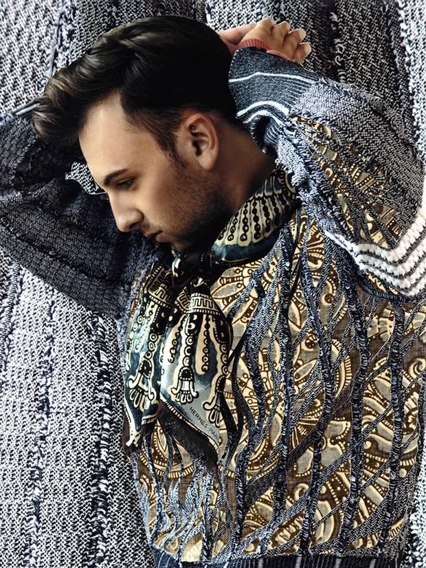Thom Browne sweater, $1,825 at Holt Renfrew (www.holtrenfrew.com). Turtleneck, $1,700, scarf, $560 at Hermès (www.hermes.com).