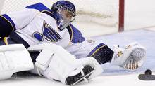 St. Louis Blues' goaltender Jaroslav Halak blocks a shot against the Dallas Stars during the third period of their NHL hockey game in Dallas, Texas April 7, 2012. The Blues face the San Jose Sharks in the first round of the NHL playoffs. REUTERS/Mike Stone (Mike Stone/Reuters)