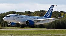 Bombardier's C-Series100 takes off on its maiden test flight at the company's facility Monday, September 16, 2013 in Mirabel, Que. (Ryan Remiorz/THE CANADIAN PRESS)