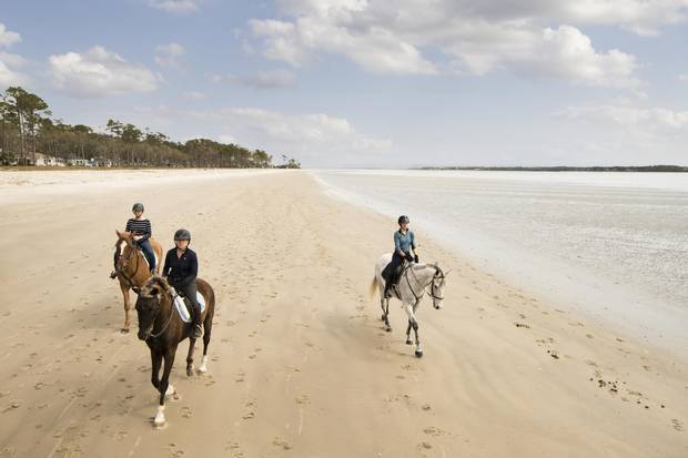 Haig Point Resort, on Daufuskie, South Carolina. Daufuskie, offers rides on one of the few beaches on the U.S. Eastern Seaboard with sand packed tightly enough for horses to safely gallop on.
