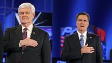 Republican presidential candidates Newt Gingrich, left, and Mitt Romney stand for the U.S. national anthem before the Republican presidential candidates debate in Jacksonville, Fla., on Jan. 26, 2012. (Brian Snyder/Reuters/Brian Snyder/Reuters)