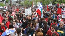 People gather at the start of a protest to mark the 100th day of a students strike, in Montreal, Tuesday, May 22, 2012. (Ryan Remiorz/THE CANADIAN PRESS/Ryan Remiorz/THE CANADIAN PRESS)