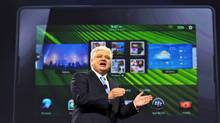 Research In. Motion Co-CEO Mike Lazaridis, addresses the audience during the Blackberry World conference in Orlando, Fla., Tuesday, May 3, 2011. (Roberto Gonzalez/AP)
