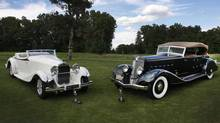 A Delage D8S deVillars Coupe Roadster, left, and a Chrysler Imperial Dual Cowl Phaeton shared top honours at the Concours d'Elegance of America. (Len Katz)