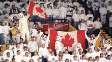 Winnipeg Jets' fans cheer on their team during playoff action against Detroit Red Wings in this 1996 file photo. (CP)