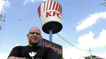 Hintonburger co-owner Thomas Williams wants to get rid of the KFC bucket because it confuses his customers. (Fred Chartrand for The Globe and Mail)