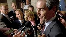 Liberal Leader Michael Ignatieff speaks to reporters in the foyer of the House of Commons after Question Period on Sept. 28, 2009. (Adrian Wyld/The Canadian Press)