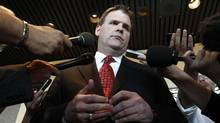 Canada's Foreign Minister John Baird pauses while speaking to journalists following a meeting with Syrian-Canadian representatives and members of the Syria's opposition in Ottawa July 25, 2012. (Chris Wattie/REUTERS)