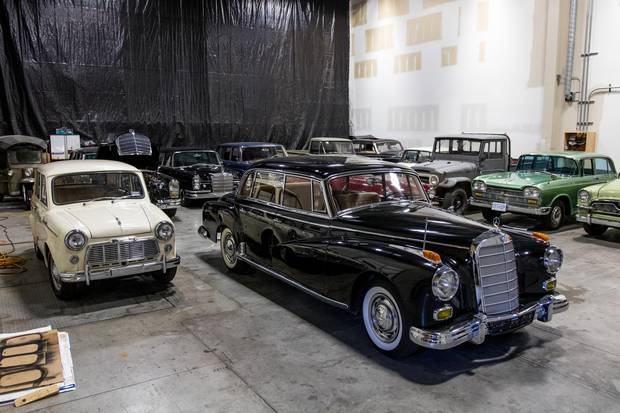 The mighty presence of a Mercedes-Benz 300 'Adenauer' stands in stark contrast to the tiny white Datsun on the left. Both these cars will be used to represent Japan-occupied San Francisco, one a machine built for dignitaries, the other a humble runabout for the common people.