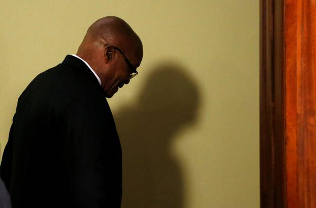 h Africa's President Jacob Zuma leaves the room after announcing his resignation in Pretoria on Wednesday. The African National Congress pushed Mr. Zuma out of office after nearly a decade as president.