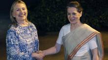U.S. Secretary of State Hillary Clinton (L) meets with India's Chief of India's ruling Congress party Sonia Gandhi in Delhi May 7, 2012. (SHANNON STAPLETON/REUTERS/SHANNON STAPLETON/REUTERS)