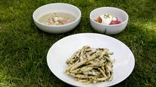 Garganelli with Dandelion Pesto, Sorrel Soup with Spot Prawns and Rhubarb Cobbler with Pistachio whip cream (Deborah Baic/The Globe and Mail)