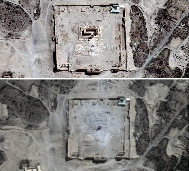 Syria's Temple of Bel is shown before and after its demolition, in images captured by the lenses of a Canadian satellite company, UrtheCast. At the beginning of September, the satellite images of the Temple of Bel and the Baal Shamin Temple in Palmyra were posted on the website of the United Nations Institute for Training and Research and confirmed by its satellite observation arm, the Operational Satellite Applications Program (UNOSAT). Vancouver-based UrtheCast has four cameras in space, two of which have been installed on the Russian portion of the International Space Station since the beginning of last year. The images captured of the Syrian temples were taken by the company's own satellite, which was purchased as a pair this summer from Spanish company DOT-Deimos for $100-million. -Ahmad Hathout