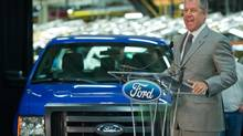 Joe Hinrichs, Ford Motor Co.'s president of the Americas, announces May 2, 2013 that the company is adding 2,000 workers to its Claycomo, Mo., plant, where the the F-150 pickup is made, because of surging U.S. demand for pickup trucks. (DAVID EULITT/THE ASSOCIATED PRESS)