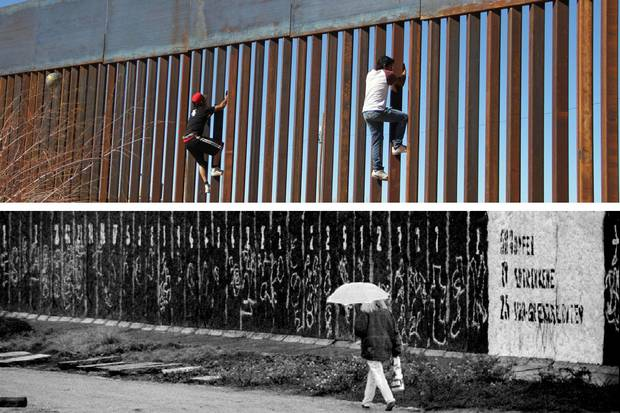Jan. 26, 2017 (top): Boys play around, climbing the border division between Mexico and the United States in Ciudad Juarez. Nov. 8, 1993 (bottom): A woman walks along wall segments on the former death strip in central Berlin near the Reichstag.