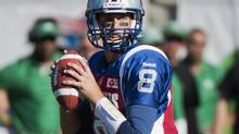 The Montreal Alouettes and quarterback Josh Neiswander pay the Edmonton Eskimos a visit at Commonwealth Stadium on Saturday afternoon in Week 15 CFL action. (GRAHAM HUGHES/THE CANADIAN PRESS)
