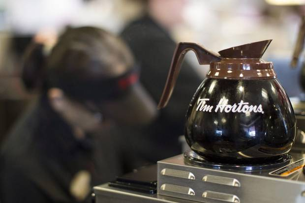 Freshly brewed Tim Hortons coffee at an Oakville, Ont., location in 2013.