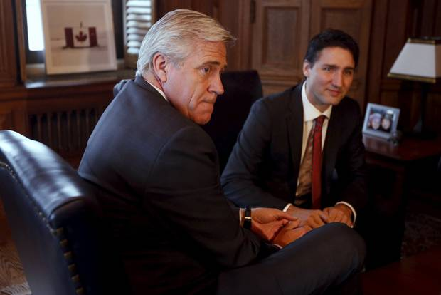 Newfoundland and Labrador Premier Dwight Ball with Prime Minister Justin Trudeau in December of 2015.