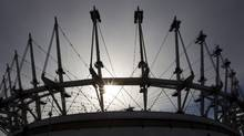 The 36 masts now in place on BC Place in Vancouver February 7, 2011. Renovations to BC Place Stadium should be complete by Sept. 30, 2011, says BC Pavilion Corporation (PavCo). (JOHN LEHMANN/John Lehmann/The Globe and Mail)