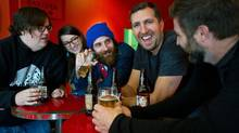 Collective Arts Brewing's Matt Johnston, second from right, with members of the Juno-nominated Toronto band the Strumbellas. (Galit Rodan/The Globe and Mail)