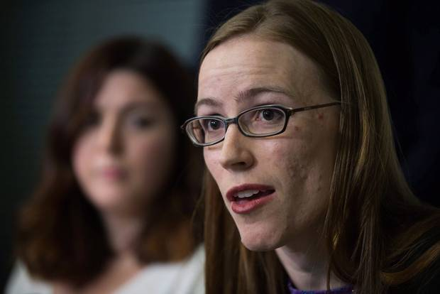 Former University of British Columbia students Glynnis Kirchmeier, in the foreground, and Caitlin Cunningham are two of several graduate students who criticized the university's response to alleged sexual assaults by a former student.