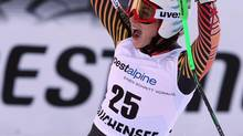 Canada's Larisa Yurkiw celebrates after completing an alpine ski World Cup women's downhill, in Altenmarkt Zauchensee, Austria, Saturday, Jan. 11. (Enrico Schiavi/AP)