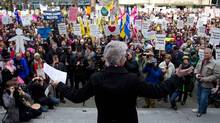 British Columbia Teacher's Federation president Susan Lambert addresses striking teachers and other supporters during a rally on the final day of a three-day province wide walkout in Vancouver, B.C. (Darryl Dyck/The Canadian Press/Darryl Dyck/The Canadian Press)