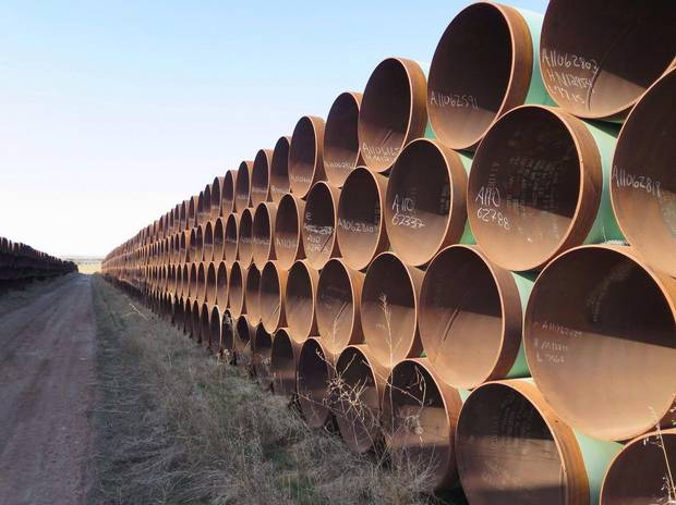 Hundreds of kilometres of pipes stacked inside it that are supposed to go into the Keystone XL pipeline.