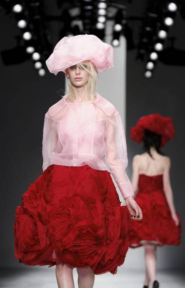 John Rocha cited the south of France and artists Andy Goldsworthy and Richard Serra as starting points for his latest collection. But even stronger, although unstated, are the similarities to Bill Gaytten's SS12 Haute Couture collection for Christian Dior – particularly the way he uses organza for transparency. (Jonathan Short/AP)