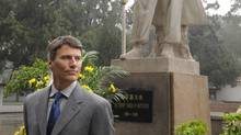 Vancouver Mayor Gregor Robertson visiting the tomb of Dr. Norman Bethune, at the Huabei Martyrs' Cemetery, China, September 7th, 2010. Robertson is related to Bethune.