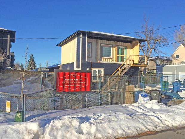 Calgary-based Modern Huts is constructing the city's first laneway container home in a Killarney backyard. Three shipping containers will be positioned above a two-car garage to create 480 square feet of living space for Chad Saunders and his wife Jennifer Head.