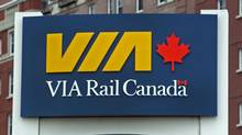 A VIA Rail sign at the train station in Halifax on Wednesday, June 27, 2012. (Andrew Vaughan/THE CANADIAN PRESS)