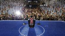 First Lady Michelle Obama speaks to delegates at the Democratic National Convention in Charlotte, N.C., on Tuesday, Sept. 4, 2012. (Charlie Neibergall/AP)