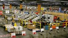 Canada Post plant in Mississauga. (Fernando Morales/The Globe and Mail)