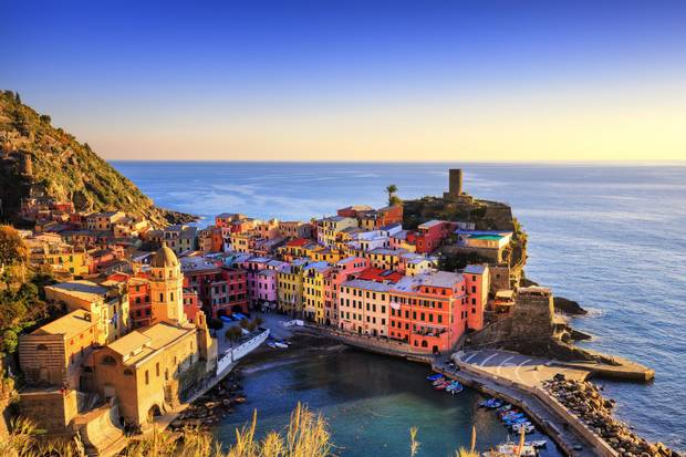 Aerial view of Vernazza village at sunset.