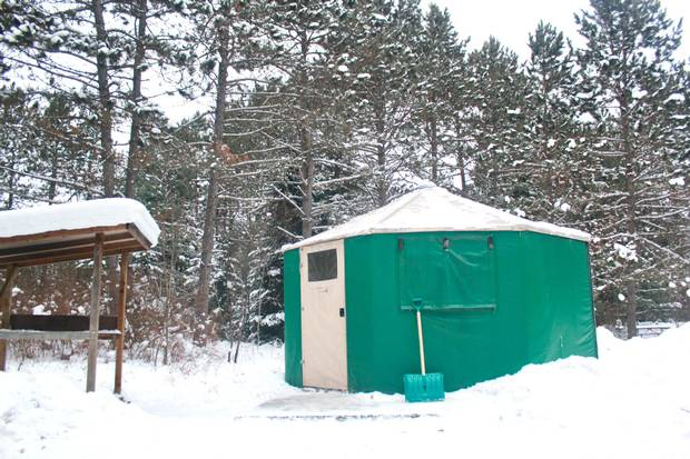 The yurts at Mew Lake Campgrounds have electricity