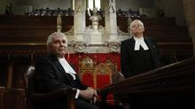 Senate Clerk Gary O'Brien (L) and Speaker Noel Kinsella take part in a news conference in the Senate chamber on Parliament Hill in Ottawa December 2, 2013. (CHRIS WATTIE/REUTERS)