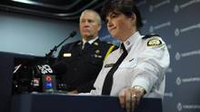 Toronto police Chief Bill Blair (right) and Staff Inspector Mary Lee Metcalfe, Commander of the Sex Crimes Unit, are photographed during a press conference on Oct 22 2012. Police announced an arrest in sex assault cases in the Bloor St. West and Christie St. neighbourhood of Toronto. (Fred Lum/The Globe and Mail)