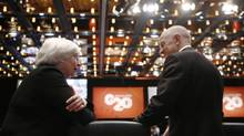U.S. Federal Reserve Chair Janet Yellen, left, meets Australia's Reserve Bank Chairman Glenn Stevens during the opening session of the G20 Finance Ministers and Central Bank Governors meeting in Sydney, Australia, Saturday, Feb. 22, 2014. (Jason Reed/AP)