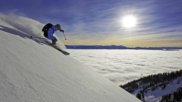 Steep and deep runs at Snow King Mountain offer a killer view of of the Teton range.