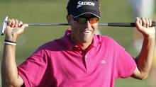 Robert Allenby of Australia reacts after missing his birdie putt on the 17th hole final round play of the Tournament Players Championship PGA golf tournament at TPC Sawgrass in Ponte Vedra Beach, Florida May 9, 2010. REUTERS/Hans Deryk (HANS DERYK)