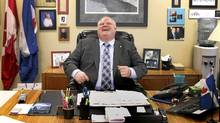 Toronto Mayor Rob Ford laughs during a year-end interview with The Globe and Mail in his office on Dec. 20, 2011 (Peter Power/The Globe and Mail/Peter Power/The Globe and Mail)