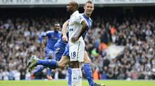 Chelsea's Gary Cahill (R) celebrates after scoring a goal as Tottenham Hotspur's Jermain Defoe reacts during their English Premier League match at White Hart Lane in London October 20, 2012. (DYLAN MARTINEZ/REUTERS)