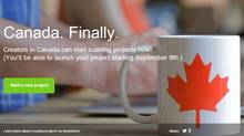 Canada is the second non-U.S. country to host Kickstarter projects, it arrived in the United Kingdom Oct. 31, 2012. (Kickstarter.com)