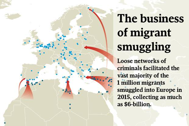 Interpol and Europol identified 250 smuggling hotspots, 170 inside the European Union and 80 outside the EU. These smuggling hubs offer a mini-economy aimed at profiting from desperate migrants – whether it is transport services in the form of bus, truck, or train, or document forgery services to allow travel across borders. New smuggling hotspots are expected to emerge as the demand for smuggling services to Europe increase.