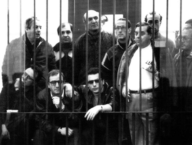 A group of suspected Mafia members behind bars attending the third day of the maxi-trial against 474 people at the fortress-like curtroom at Palermo Wednesday