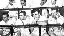 John Martin, first row, second from left, is seen with colleagues at McGill Med School.
