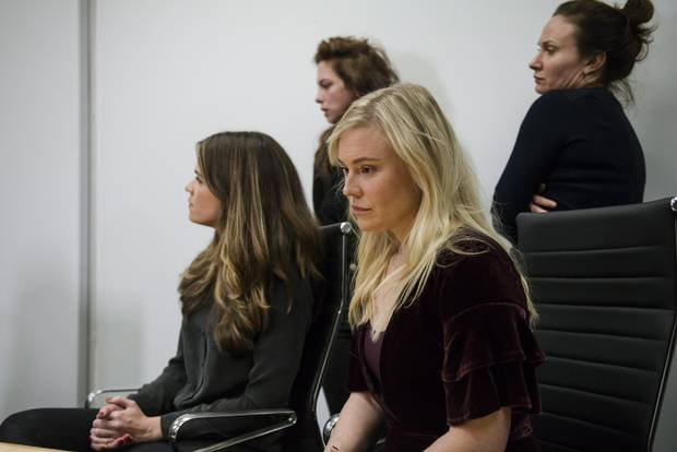 Plaintiffs (left to right) Diana Bentley, Hannah Miller, Kristin Booth and Patricia Fagan attend a press conference after filing lawsuits alleging sexual harassment from Soulpepper Theatre Company artistic director Albert Schultz, in Toronto, on Jan. 4, 2018.